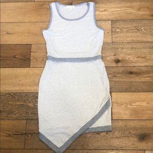 Monteau Asymetrical Hem Sleeveless Striped Dress L